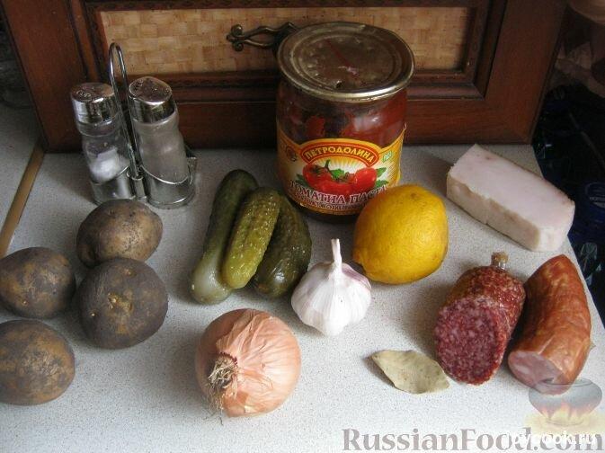 Солянка сборная с колбасой классическая рецепт пошаговый рецепт