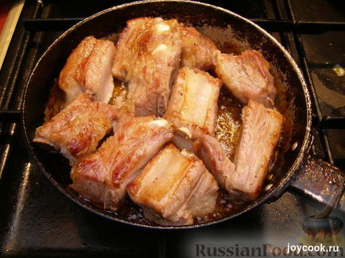 Свиные ребрышки на сковороде пошаговый рецепт