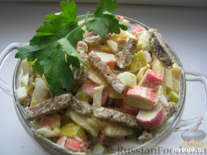 Салаты с крабовыми палочками и сухариками рецепты с