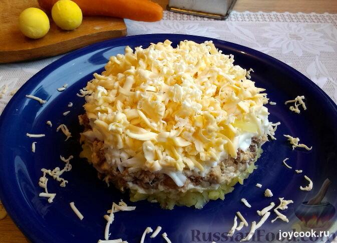 Салат мимоза с картошкой и сливочным маслом рецепт