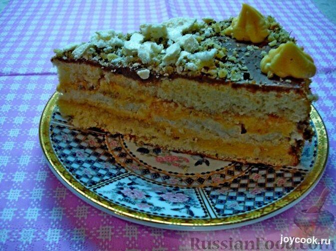 Торт из бисквита и безе