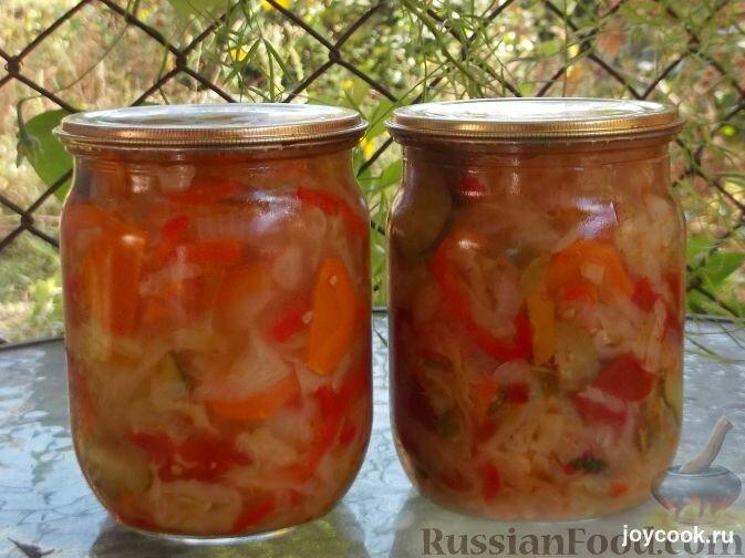 Салат на зиму помидор капуста перец и лук