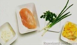 Салат из курицы с ананасом: Подготовить продукты для салата.
