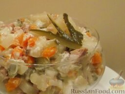 Салат из печени трески (минтая) с овощами