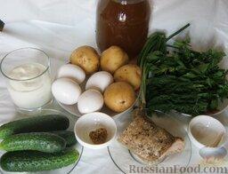Окрошка классическая: Квас, картофель, яйца, огурцы, сметана, мясо и зелень – основные составляющие классической окрошки.