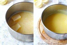 Тарталетки с лимонным курдом и голубикой: Лимонный курд готовим заранее.  С 1-2 лимонов снимаем цедру и смешиваем с сахаром. Я взяла цедру двух лимонов, так как я люблю, чтобы вкус лимона был более яркий и кислый.  Из лимонов выжимаем сок, добавляем к сахару с  цедрой и перемешиваем.  Яйца взбиваем несильно венчиком. Желток с белком должны хорошо размешаться, но не более. Яйца добавляем к лимонно-сахарной смеси и оставляем на 20-30 минут.  Через 20-30 минут наш будущий крем процеживаем через ситечко, переливаем в ковш, добавляем сливочное масло и ставим на средний огонь. Варим, постоянно помешивая, пока курд не загустеет.