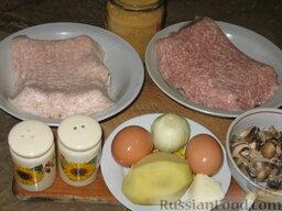 Рулет из куриного и свиного фарша: Ингредиенты для мясного рулета из фарша.