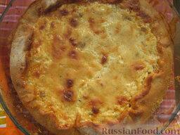 Открытый пирог с грибами и домашними колбасками: Выпекаем открытый пирог с грибами при 180 градусах 30-40 мин.   Приятного аппетита!