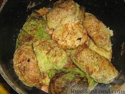 Голубцы из савойской капусты с мясо-грибной начинкой: Выкладываем второй слой.