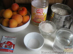 Жареные пирожки с абрикосами: Продукты для жареных пирожков с абрикосами перед вами.