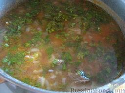 Острый суп харчо с говядиной: Лук положить в суп вместе с промытым рисом и варить все до готовности крупы 20-25 минут. Затем положить лавровый лист, несколько  чайных ложек аджики, томат-пасту, ткемали, посолить по вкусу, поварить еще 5 минут и снять с огня. Добавить чеснок и зелень.