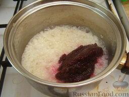 Рис со свеклой и козьим сыром: Добавить свекольное пюре.