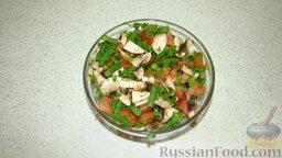 Фаршированный фарш: Овощи и грибы соединить посолить, поперчить по вкусу, перемешать.