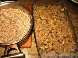 Гречневая каша с молотым мясом и грибами: В смазанную маслом форму выложить половину гречневой каши, на нее – тушеное мясо с луком и грибами, а сверху покрыть оставшейся кашей.