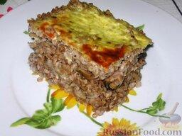 Гречневая каша с молотым мясом и грибами: Готовая запеканка из гречневой каши с мясом и грибами. Приятного аппетита!