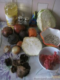 Украинский постный борщ: Продукты для украинского постного борща перед вами.