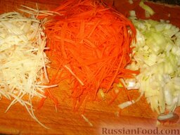 Опильский борщ: Мелко порезать лук и натереть или порезать  мелкой соломкой морковь и корень петрушки.