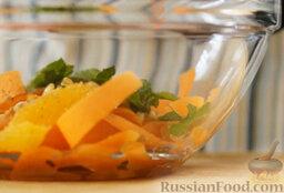 Марокканский салат с морковью и апельсинами: Добавляем измельченный кумин, соль.