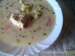 Нежный куриный суп с плавленым  сыром и овощами: Нежный куриный суп с плавленым  сыром и овощами готов.  Приятного аппетита!