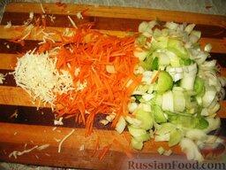 Июньский борщ: Порезать кольцами лук и натереть мелкой соломкой оставшуюся морковь и корень петрушки.