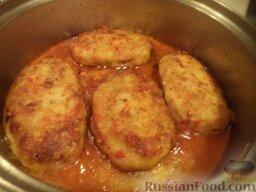 Рыбные котлеты под томатным соусом: Рыбные котлеты под томатным соусом готовы. Подавать с любимым гарниром. Хорошо и теплые, и охлажденные.  Приятного аппетита!