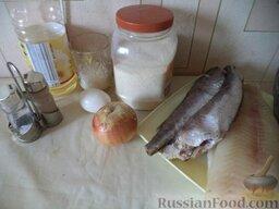 Рыбные котлеты с манкой: Продукты для котлет рыбных с манкой перед вами.