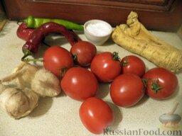 Аджика «Хреновина» сырая: Продукты для сырой аджики «Хреновина» перед вами.