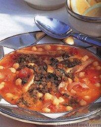 Марокканский куриный суп с нутом