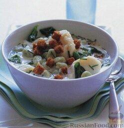 Суп с рыбой и садовыми бобами