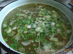 Сырный суп с курицей: К курице добавить картофель и зеленый лук. Варить 10-15 минут.