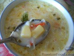 Сырный суп с курицей: Подавать сырный суп с курицей со свежей зеленью.  Приятного аппетита!