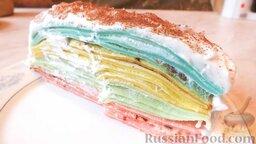 Разноцветные блины (блинный торт): Вот такие разноцветные блины со сливками получились.  Приятного аппетита!