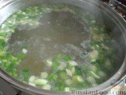 Постный зеленый борщ: Зеленый лук выложить в кастрюлю. Варить 5-7 минут.