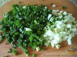 Тюлька (килька) тушеная с зеленым луком: Лук зеленый очистить, помыть, нарезать.