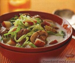 Немецкий грибной суп с капустой и фаршем