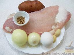 Рыбные котлеты: Необходимые ингредиенты для приготовления рыбных котлет: рыбное филе, репчатый лук, картофель, чеснок, яйца, черный молотый перец, приправа для рыбы, соль, растительное рафинированное масло.