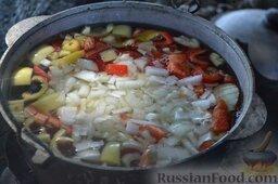 Халасле - венгерский рыбный суп: Кидаем всё в котелок и заливаем водой. Накрываем крышкой и доводим до кипения.