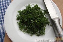 Шницели рубленые из сёмги с сыром: Порежьте укроп.