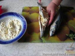 Фаршированная скумбрия: При фаршировке рыбы плотно наполняем брюшко приготовленной начинкой.