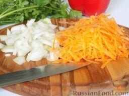 Борщ с курицей (в мультиварке): Лук и морковку измельчим. Лук нарежем, морковь натрём.
