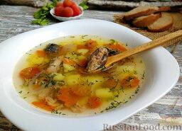 Суп из консервированной сардины, с помидорами: После того, как рыбный суп немного настоится, разлить по тарелкам и приступить к пробе.