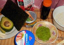 Роллы с мидиями и авокадо: Теперь приступить к формированию роллов!