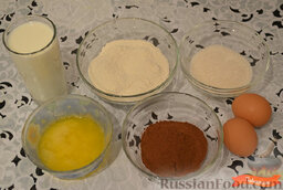 Шоколадные блинчики: Ингредиенты для приготовления шоколадных блинчиков.