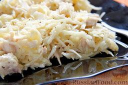 Салат с курицей, ананасами, капустой и сельдереем