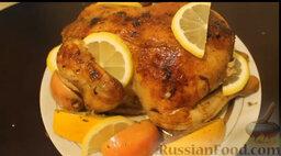 Курица, запеченная с яблоками и апельсинами: Все готово! Время запекания курицы индивидуально и зависит от ее размера.
