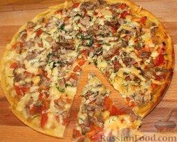 """Пицца """"Воскресная"""" из отварной свинины и помидоров"""
