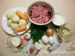 Картофельная запеканка с мясными шариками: Продукты для картофельной запеканки с мясными шариками.