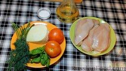 Куриные рулетики с помидорами и мягким сыром: Продукты для приготовления куриных рулетиков с помидорами и сыром.