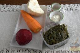Салат с морской капустой и корнеплодами: Продукты для салата из морской капусты.