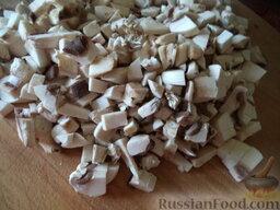 Вегетарианская шаурма: Как приготовить вегетарианскую шаурму:    Грибы вымыть, нарезать кубиками или пластинками.